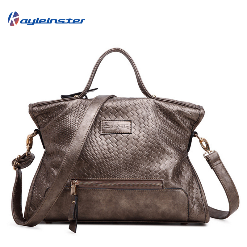 Genuine Leather Women Handbag 2015 Fashion Famous Brand Weave Pattern Camel Women Shoulder Bag Quality Genuine Leather Women Bag