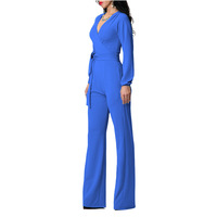 New Fashion Summer Women Sexy Off Shoulder Jumpsuit Lady Pure Color V-neck Line Vacation Dress