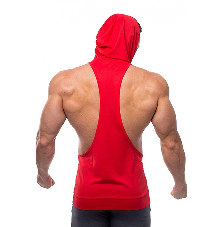 Men's Fitness Apparel Factory Private Brand Drop Arm Sleeveless Gym Tank Top Bodybuilding Racerback Stringer Hoodie
