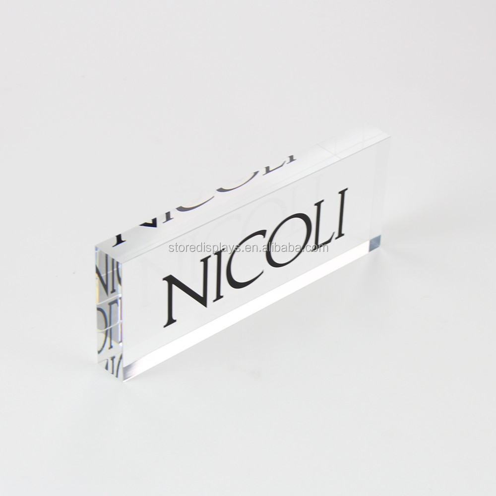 Clear Colored Solid Engraved Frosted Acrylic Cube Photo Display Brand Plexiglass Logo Block Wholesale