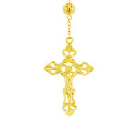 43207 xuping Wholesale Trendy Yellow Gold Plated crucifix cross long necklace