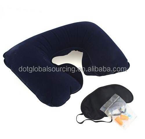 Colorful Trip 3 in1 Travel Set Inflatable U-shaped Neck Air Cushion Pillow + Eye Mask + 2 Ear Plug
