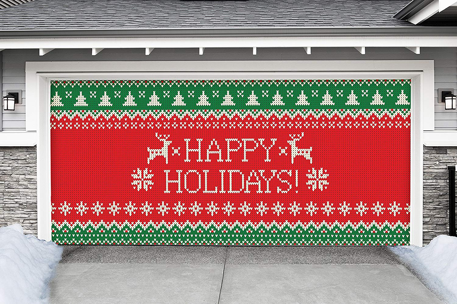 Victory Corps Outdoor Christmas Holiday Garage Door Banner Cover Mural Décoration - Ugly Christmas Sweater Happy Holidays - Outdoor Christmas Holiday Garage Door Banner Décor Sign 7'x16'