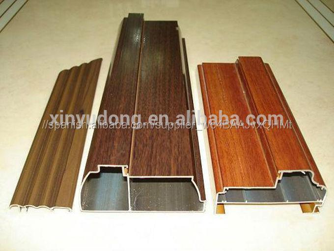 Perfil de aluminio acabado madera para pasamanos puertas y for Ventanas de aluminio con cortina