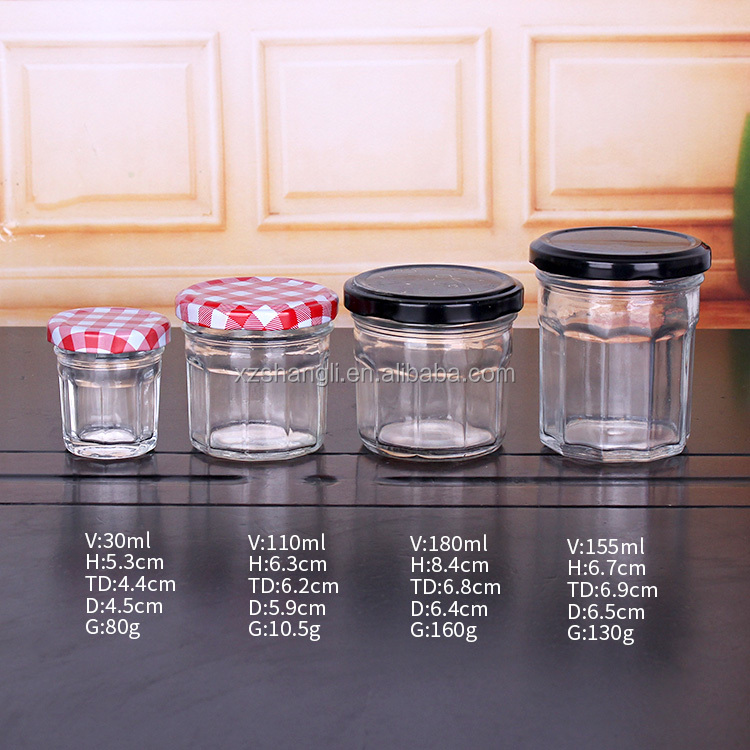 Various Sizes 35ml 100ml 150ml 200ml 300ml 450ml Conical Empty Jam Glass Jar with Wide Mouth Lids