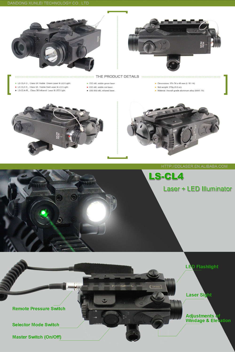 M4 Rifle Tactical Led Light Plus Military Green Laser