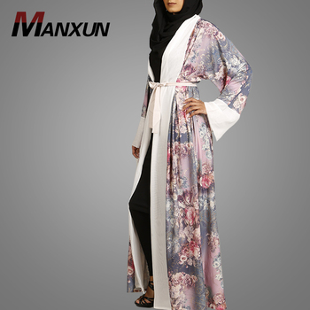 Nice Flower Printed Design Muslim Kimono Abaya Latest Fashion Photos Front Open Clothing Popular Turkish Dubai Abaya With Belt