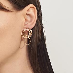 E1159 Fashion latest design stud earring jewelry multi circle hoops thread geometric earrings for women wholesale