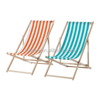 He 1051 Promotional Wooden Folding Beach Deck Chair Wood Fabric With