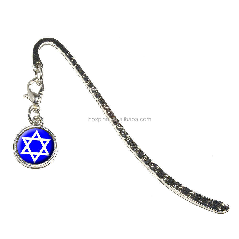 Star of David Jewish - Metal Bookmark CLIP Page Marker with Charm