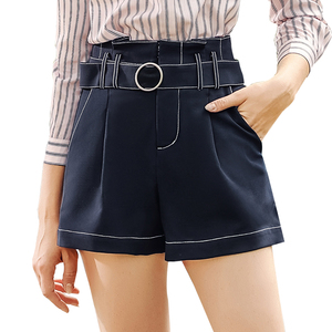 2018 summer boutique women's solid color woven stitching straight casual pants simple wild shorts