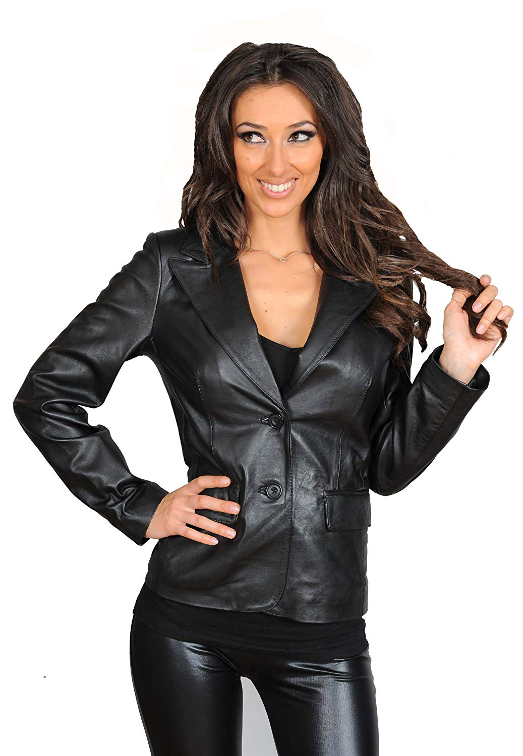 Ladies Classic Fitted Italian Style Real Leather Blazer Jacket Gabrielle Black