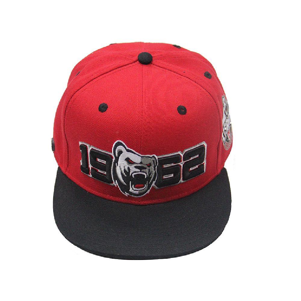 Fashion Popular Red 3D Embroidery Logo Yupoong  Snapback Hat  Acrylic Hip Hop Snapback Caps