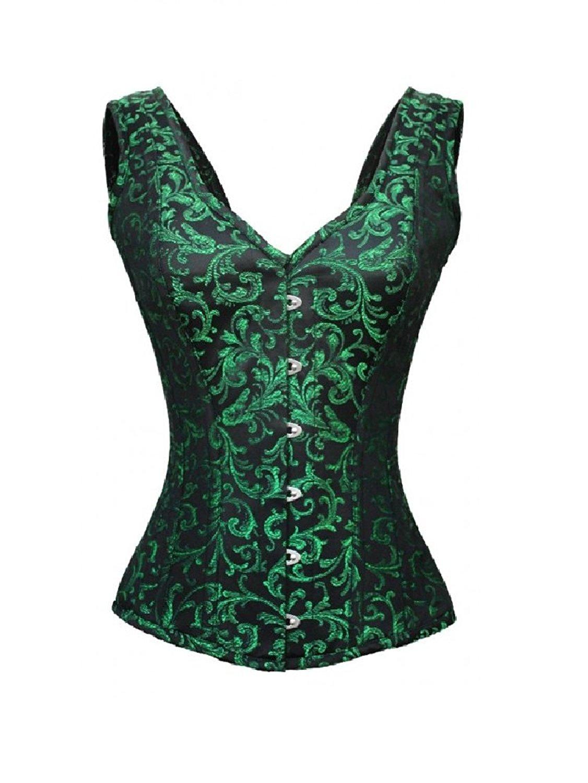 e1ea6de29f9 Get Quotations · CorsetsNmore Green Black Brocade Shoulder Straps Goth  Burlesque Waist Cincher Overbust Corset