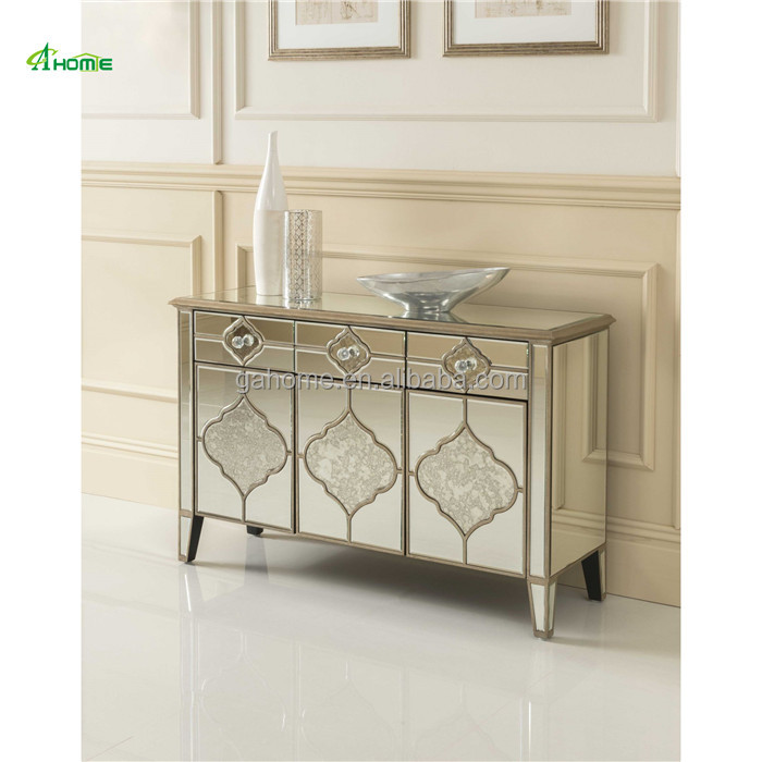 MDF Living Room furniture mirror Storage Cabinet With 3 Drawers