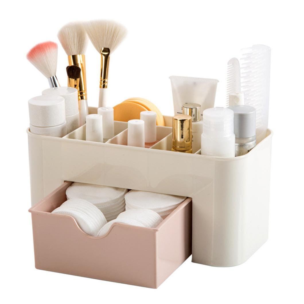 Comestics Storage bins,Yezijin Saving Space Desktop Comestics Makeup Storage Drawer Type Box (Pink)