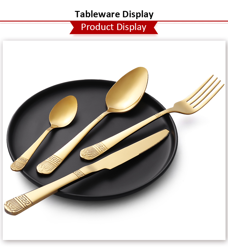 Luxury Fine China Full Stainless Steel Black and Gold Cutlery