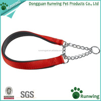 Dog collar neoprene padded half choke chain dog collar for medium large dogs