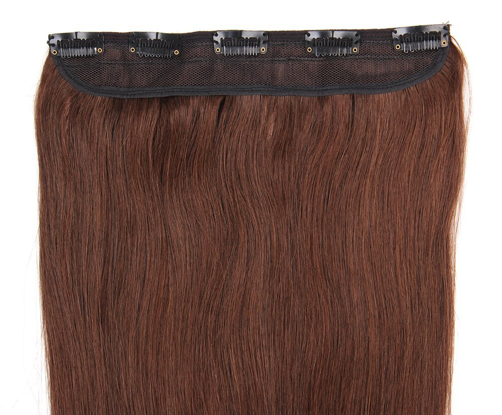 Fabwigs Once Piece Clip In Hair Extensions - 16 18 20 22 Inch 45 - 50g Set 12 Colors - 5 Clips Remy Human Hair Extensions (22 Inch #4 Medium Brown)