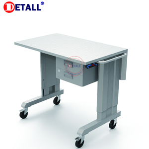 Detall ESD rolling workbench with movable wheels