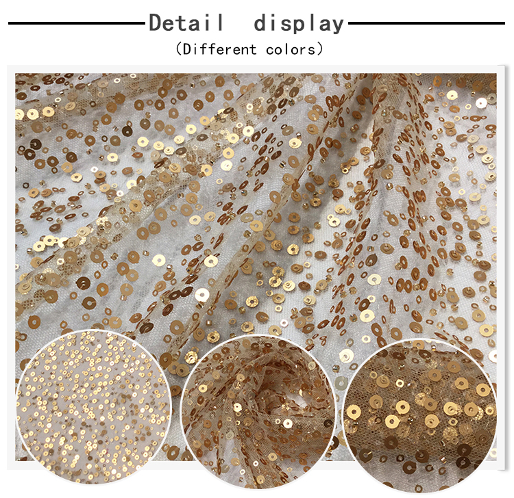 Custom color gold red sequin mesh tulle embroidery lace fabric