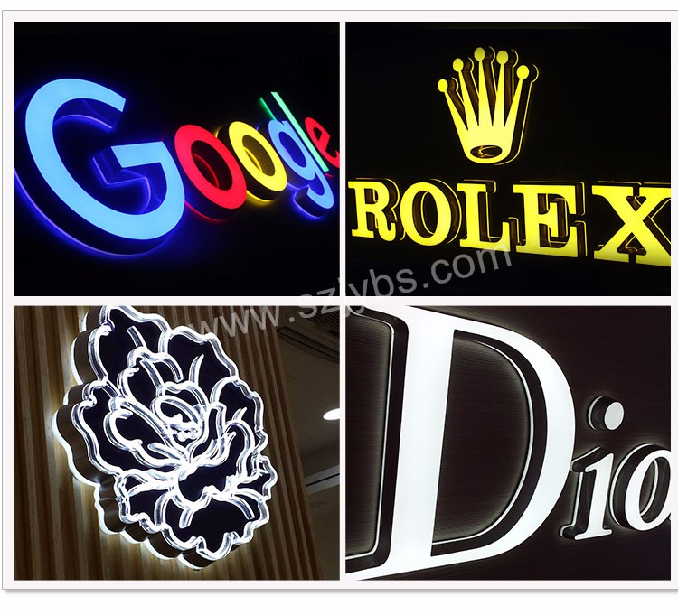 Eye-catching style shopping mall chain store front sign 3D indoor&outdoor custom acrylic led letter sign