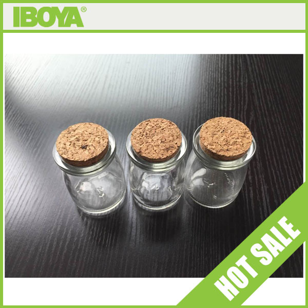 100ml shaped glass jar with wooden cork cap