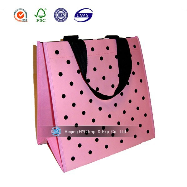 Reusable laminated bag eco shopping bags pink pp woven bag raw material