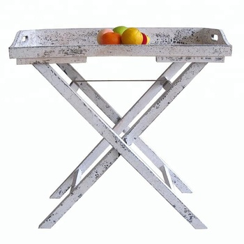 Shabby Chic Rustic White Folding Wooden Tray Table