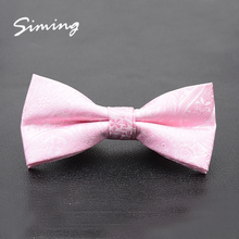 Fashion luxury jacquard floral polyester special pink bowtie