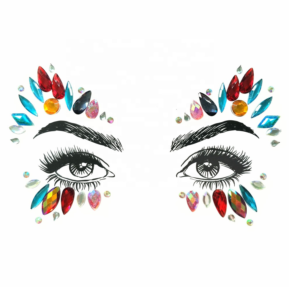 Custom Festival Body Crystal Eye Temporary Tattoo Sticker Face Gems Jewels фото