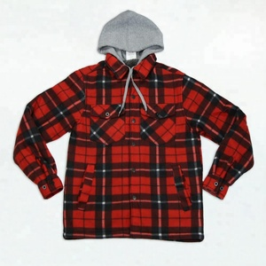 Polar fleece plaid jacket with hood for autumn high quality jacket polyester men
