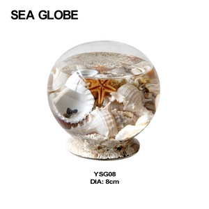 Crystal Ball With Sea Life and Water Inside Free Glass Stand