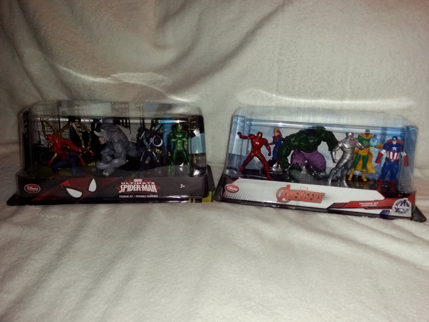 New In Box Disney Store Figurine Sets:Marvel Avengers (6 Figurines) & Marvel Ultimate Spider-Man (6 Figurines)