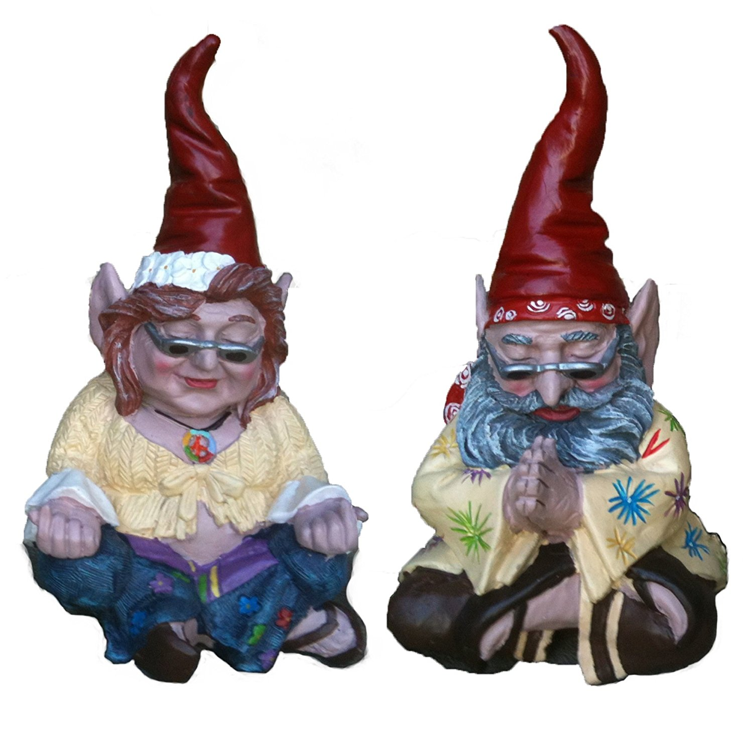 "Nowaday Gnomes - The 60's ""Peace Man"" and ""Chick"" Hippie ZEN Gnome Couple Home & Garden Gnome Statue 10""H"