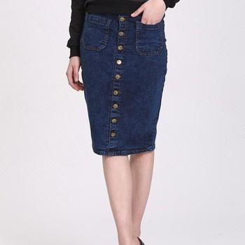 07852b68a8c Пользовательские Оптовые женские Дешевые пуговицы длинные по колено джинсовые  юбки