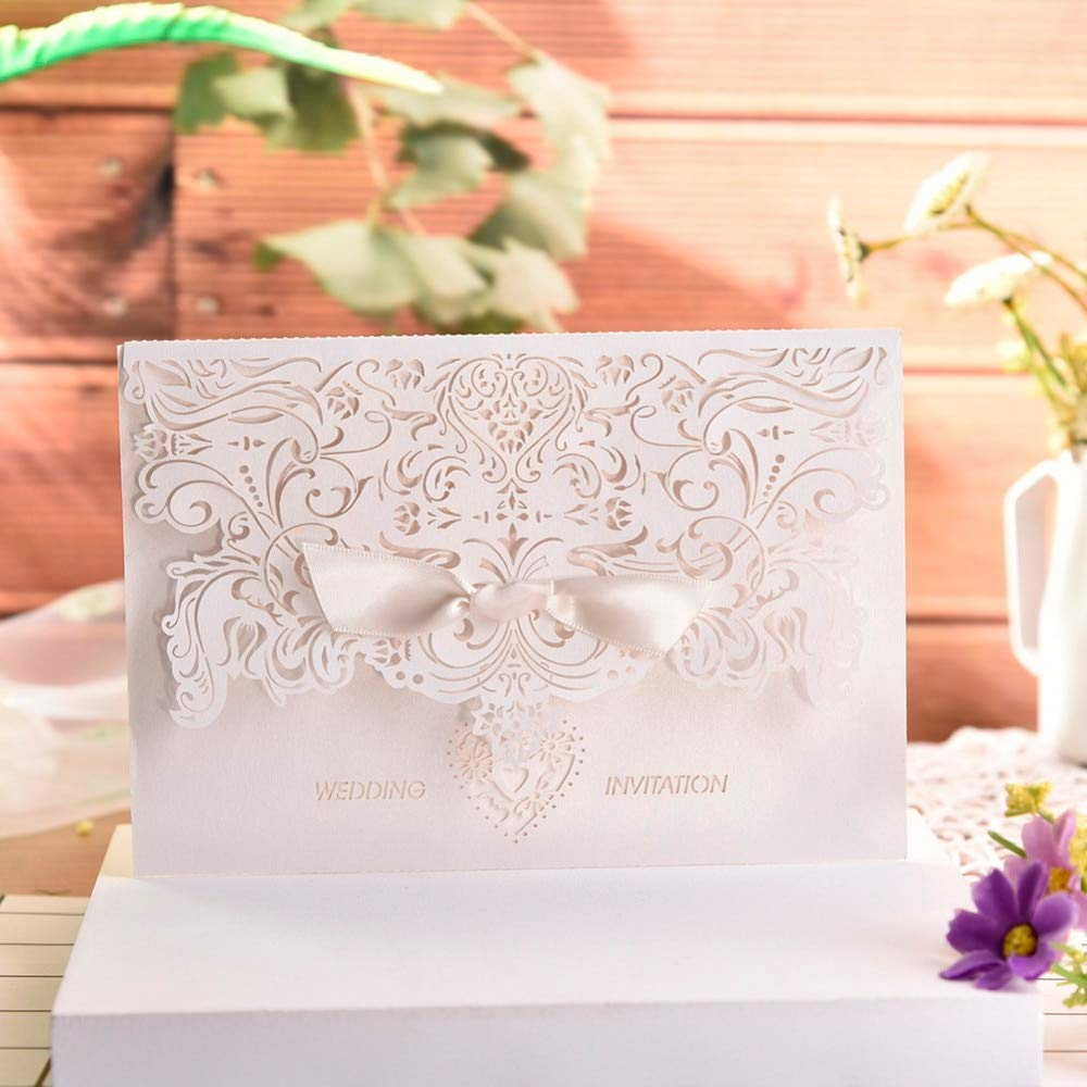 Invitation Wedding Invitation 10pc/lot European Love Heart Elegant Delicate Carved Lace Wedding Party Invitations Cards With Bowknots Wedding Party Decor (Random)