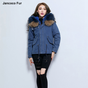 f58214599 Hot Sale Women's Denim Parker Winter Warm Real Fur Hooded Coats ...