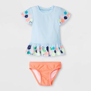 2018 Baby girl summer suit printed round neck children's wear
