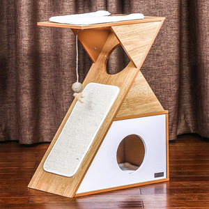 Modern Design Wooden Cat Tower with Sloping Scratching Cat Scratching House