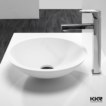 Stone Resin Above Counter Bathroom Sink , Table Top Wash Basin