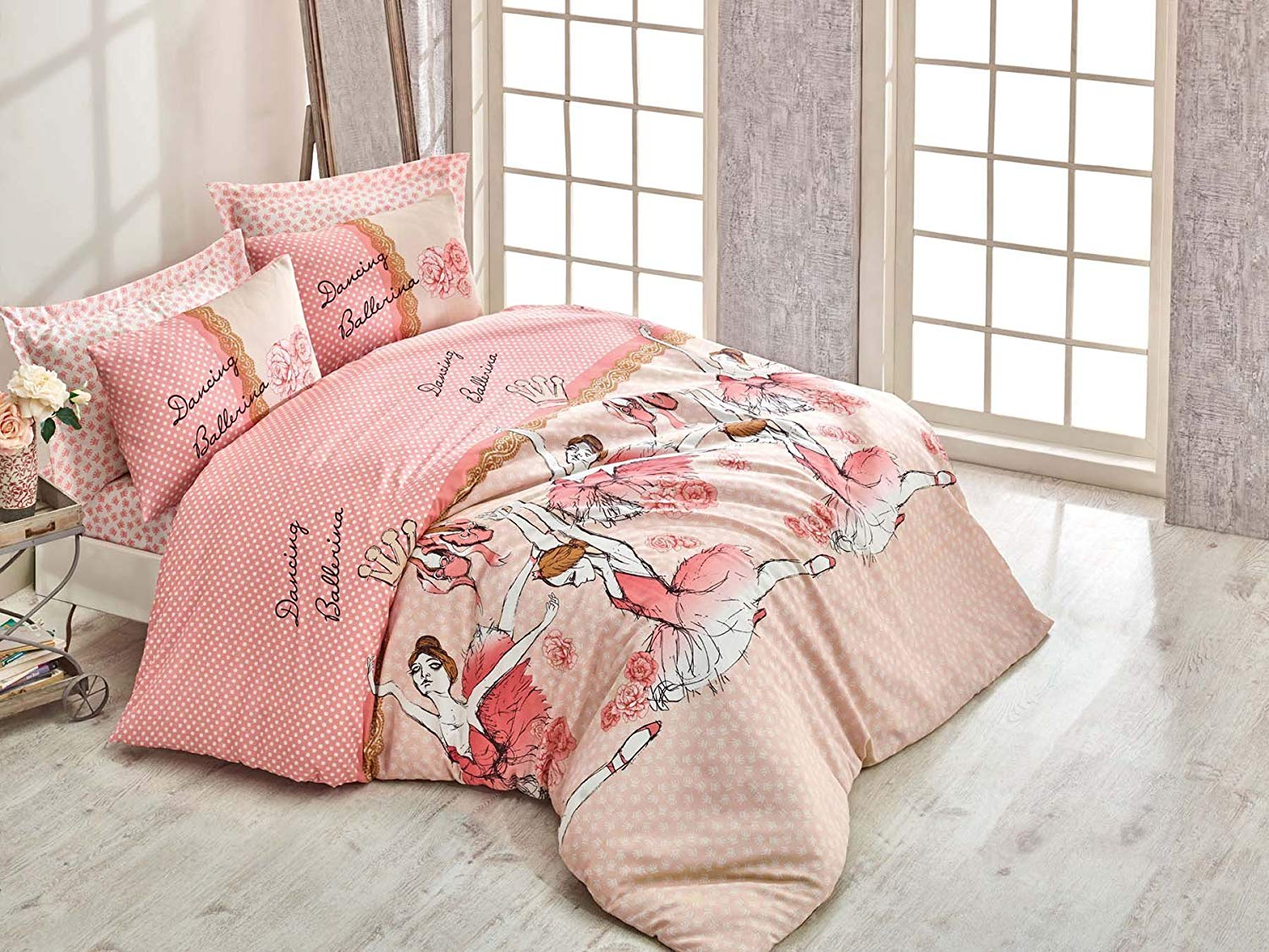 LaModaHome 3 Pcs Luxury Soft Colored Full and Double Bedroom Bedding Ranforce 65% Cotton Double Quilt Duvet Cover Set Dancing Ballerina Woman Flower Pink Background Rose