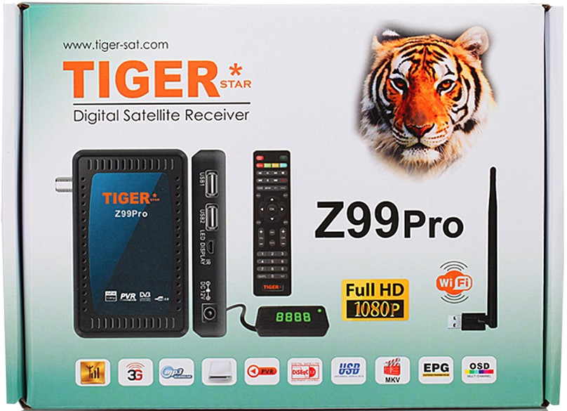 Digital Satellite Receiver Tiger Z99 Pro Full HD with free iptv channels
