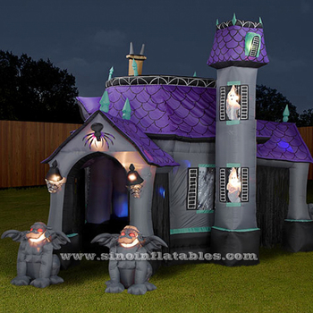 Outdoor Backyard Giant Halloween Inflatable Haunted House With Skeletons And Ghost From Clearance Factory