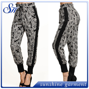 Wholesale ladies baggy print pants basic print sagging pants