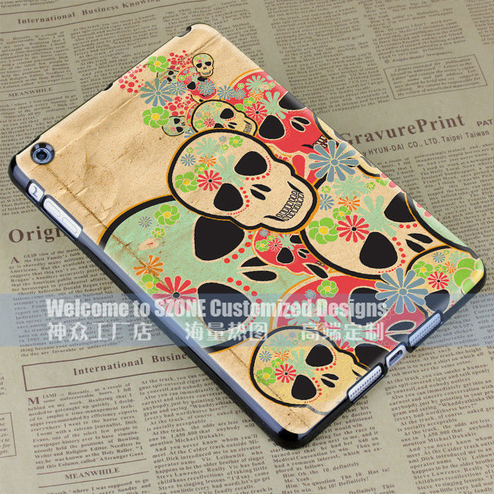 skull colour black design for ipad mini case