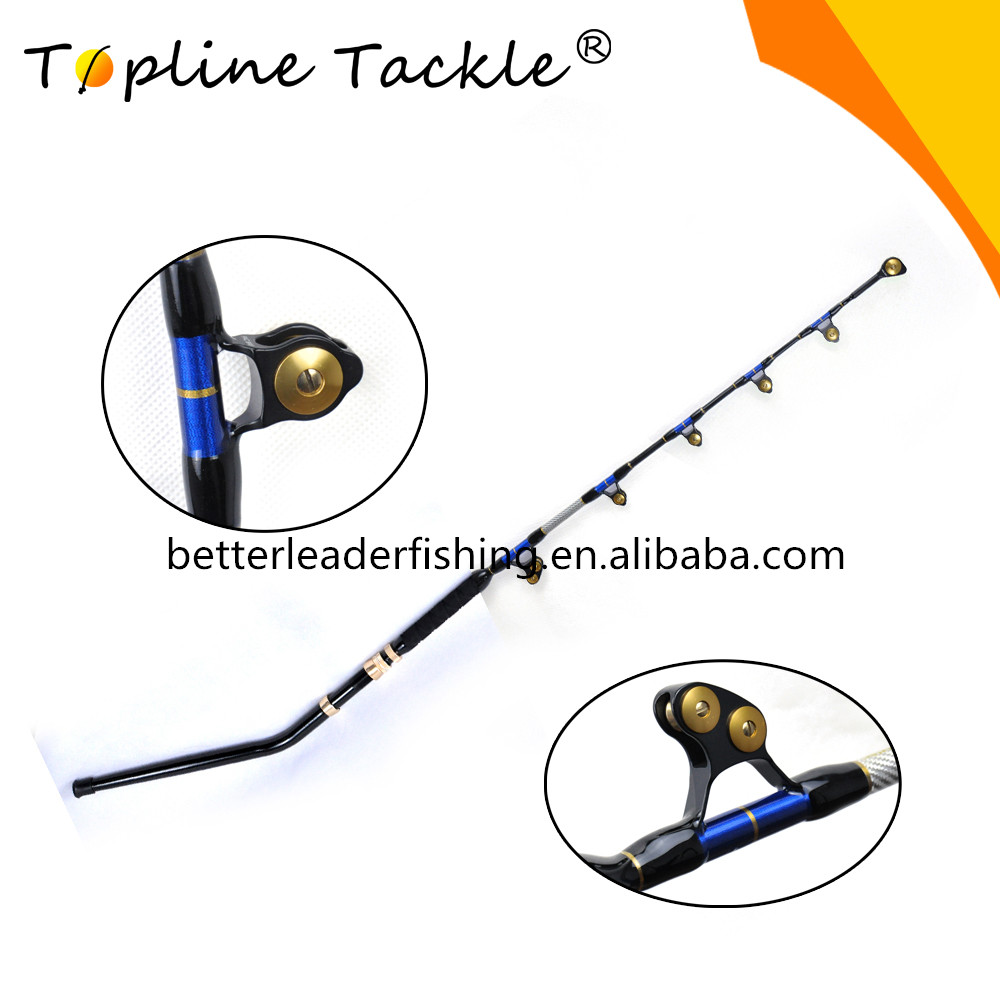 Big game fishing trolling rod e-glass with bent butts roller guide, Customized