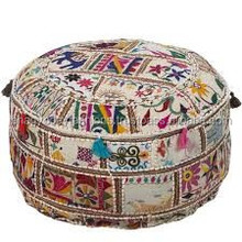 Patch work Embroidered Pouf Vintage indian pouffes,Round Pouf Christmas decorative Floor Pillow Ottoman stool/foot stool