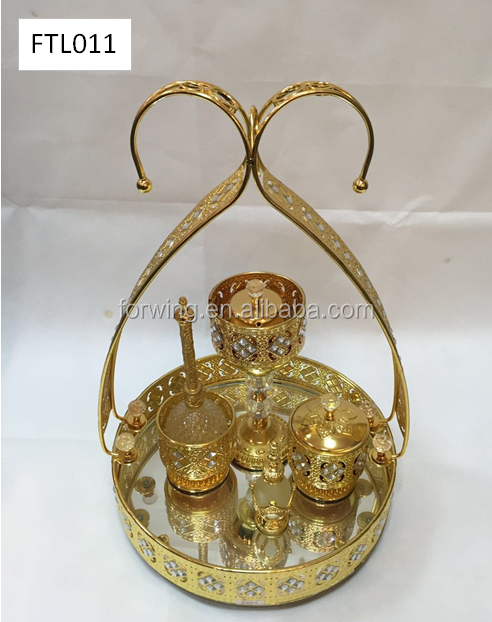 Decorative metal Arabic incense burner set