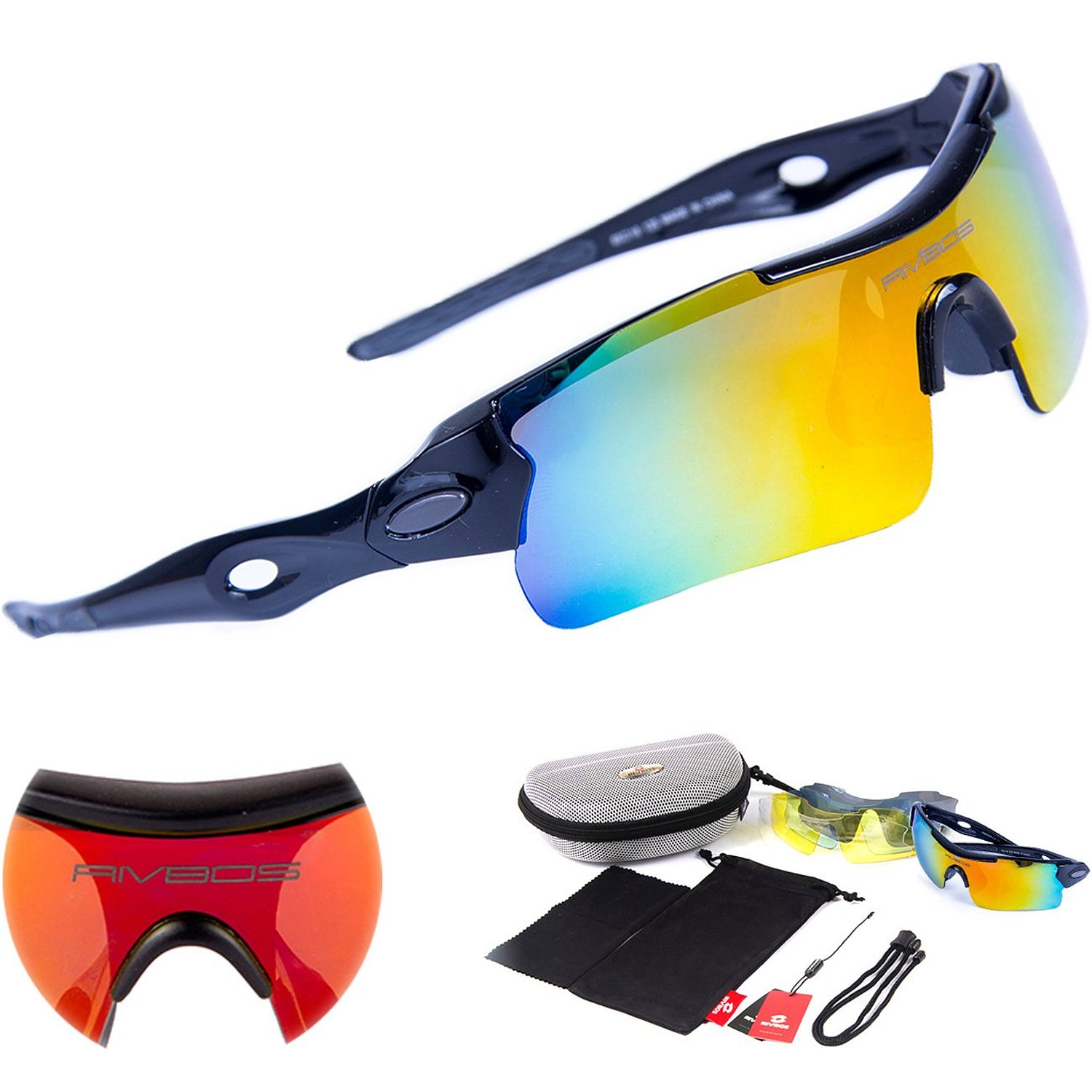 227c4a879a Get Quotations · RIVBOS 305 Polarized Sports Sunglasses Glasses with 5  Interchangeable Lens (Black)